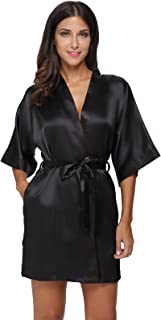 The Bund Women's Pure Colour Short Satin Kimono Robes with Oblique V-Neck