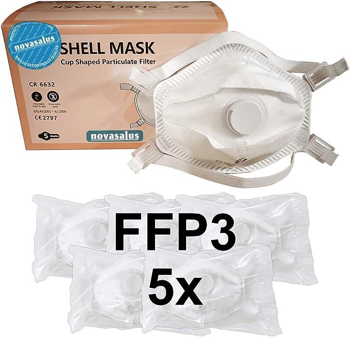 Mascherine ffp3 certificate ce con valvola - novasalus - confezione da 5 pezzi - covid mask FFP3 NR CR6632