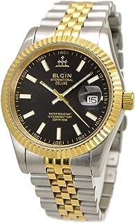 【国内正規品】ELGIN エルジン 腕時計 メンズ コンビベルト ブラック文字盤 FK1422TG-B