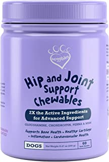 Huggibles Hip & Joint Care Chews for Dogs| Vitamin C, Glucosamine Chondroitin, MSM & Green Lipped Mussel for Dogs| Support...