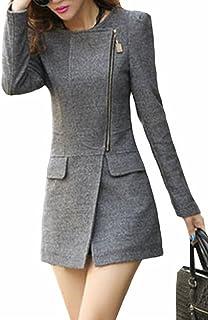 GenericWomen Long Sleeve Zipper Elegant Slim Fit Stylish Pea Coat