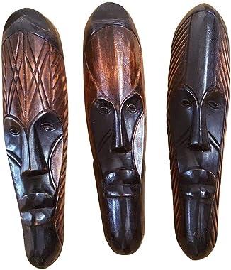 NOVARENA African Art Cameroon Gabon Fang Wall Masks and Sculptures - Africa Home Mask Decor (3 Pc Set of Black & Brown 12 Inc