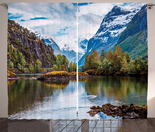 Ambesonne Nature Curtains, Norway Mountain Range with Snowy Peaks by The Lake Fishing Nordic Northern Landscape, Living Room Bedroom Window Drapes 2 Panel Set, 108 W X 84 L Inches, Blue Brown