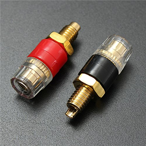 MASUNN 2 stks Koperen Terminal Zwart Rood voor 4 mm Banaan Plug Connector Jack Speaker Kabel Versterker