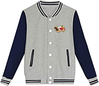WFIRE Baseball Jacket Sushi Pattern Custom Fleece Varsity Uniform Jackets Coats for Youth