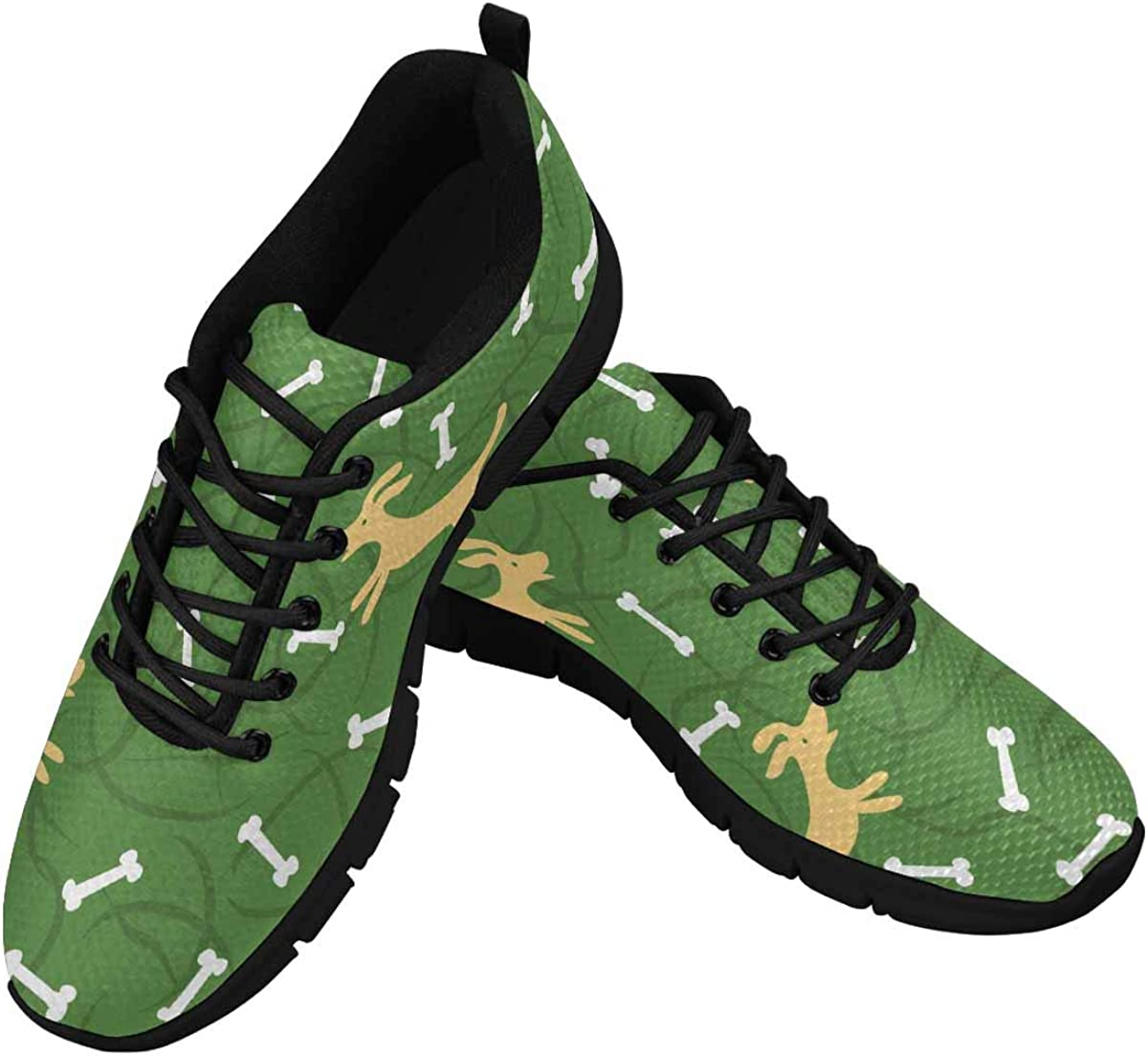INTERESTPRINT Dogs with Bones Women's Walking Shoes Lightweight Casual Running Sneakers