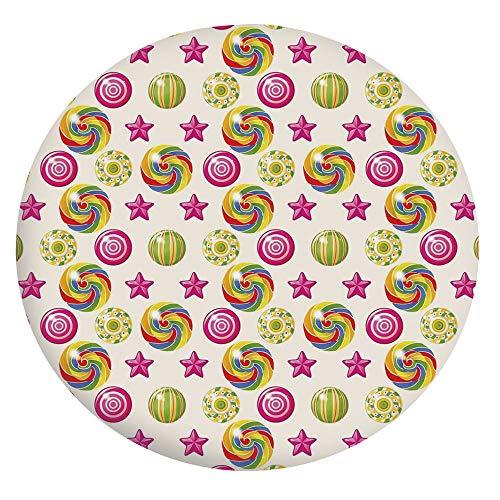 Mantel ajustable de poliéster con bordes elásticos, bonito mantel con diseño de estrellas y estrellas, se adapta a mesas redondas de 142 a 152 cm, para comedor y fiesta multicolo