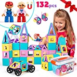 Castle Magnetic Blocks - 132-Piece Set for Girls & Boys with Play Magnet Figures & Tiles - 3D STEM Building Educational Construction Toy for Toddlers & Kid 3 4 5 6 7 Year Old Age - Great Children Gift