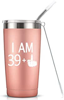 39 + One Middle Finger Mug Tumbler - 40th Birthday Gifts For Women Ladies Mom Sister Daughter Best Friend Insulated Stainless Steel Tumbler Cup with Lid - Funny Turning 40 Bday Present