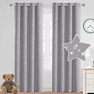 Full Blackout Curtains for Kids Room Silver Stars Printed...