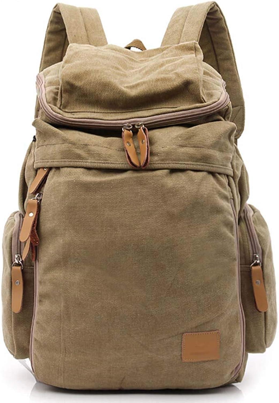 Men's Backpack Business Bag Leisure Bag School Bag Laptop Bag Travel Bag, LargeCapacity MultiLayer Retro 5 colors 2 28  16  47cm CONGMING (color   Khaki, Size   28  16  47cm)