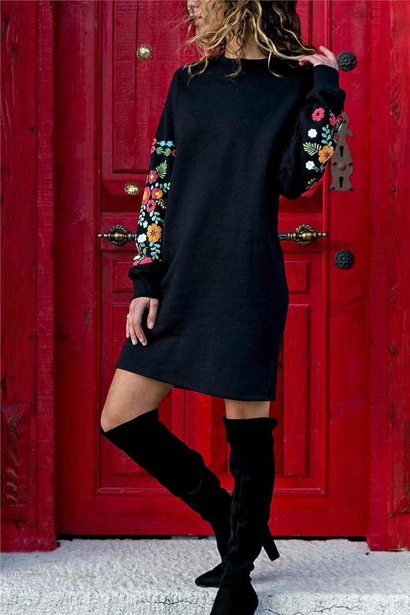 批評副私Onderroa - 冬の花プリントワンピースの女性のエレガントな黒のロングスリーブドレスOネックルーズ暖かいストリートドレスVestids