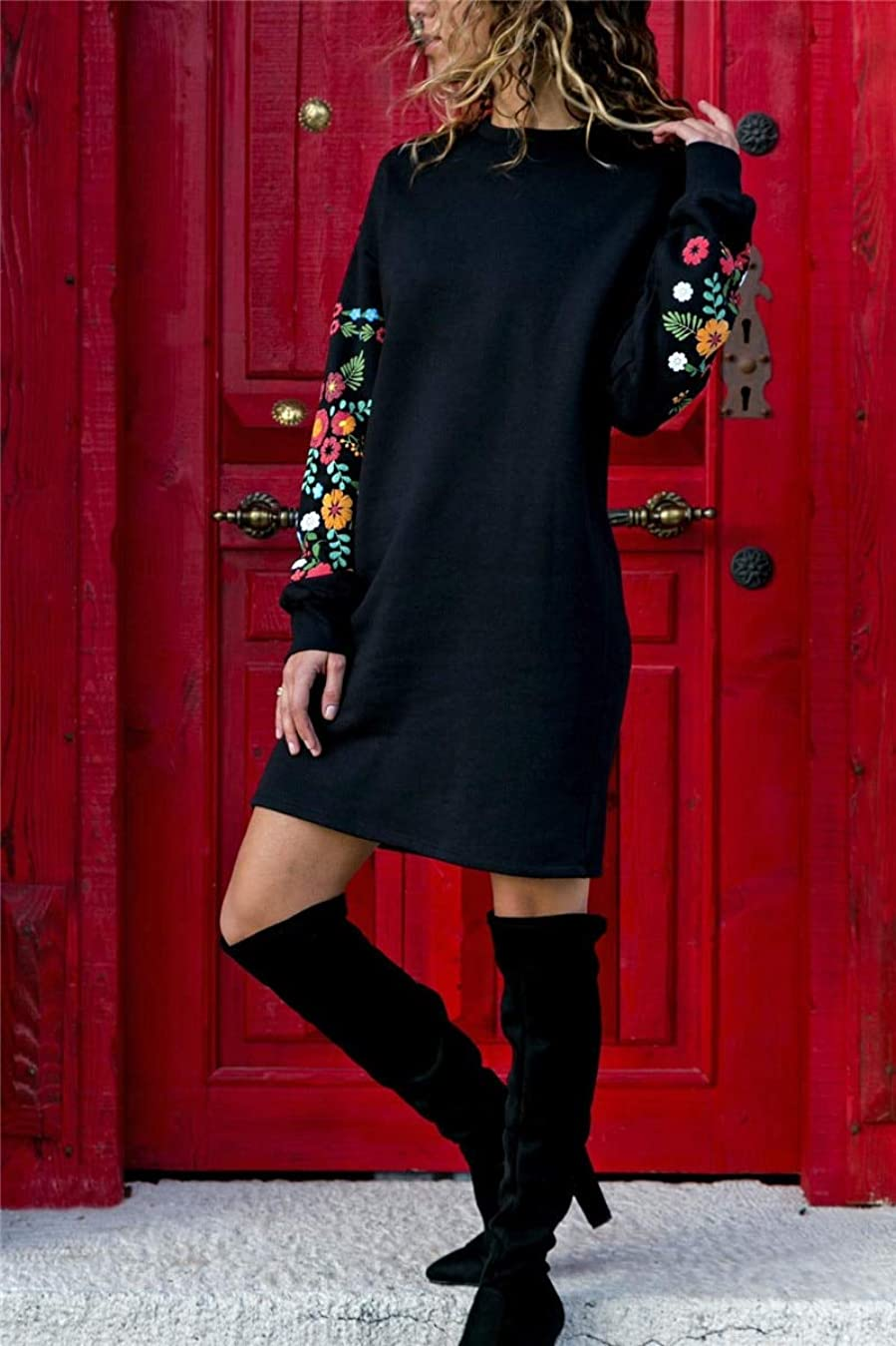 署名提供された一緒にMaxcrestas - 冬の花プリントワンピースの女性のエレガントな黒のロングスリーブドレスOネックルーズ暖かいストリートドレスVestids
