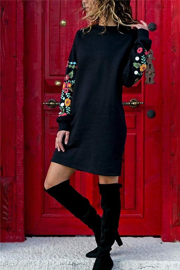名門先に浸透するMaxcrestas - 冬の花プリントワンピースの女性のエレガントな黒のロングスリーブドレスOネックルーズ暖かいストリートドレスVestids