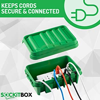 SOCKiTBOX – The Original Weatherproof Connection Box – Indoor & Outdoor Electrical Power Cord Enclosure for Timers, E...