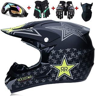 WYWZDQ motocross con gafas certificado Rockstar multicolor O motocross T Casco para motocross para motocross S, M, L, XL casco D ATV