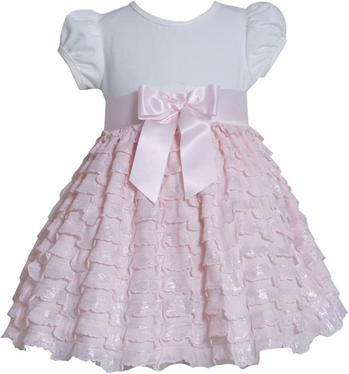 Bonnie Jean Girls 2T-4T Pink Ivory Knit to Foil Eyelash Ruffle Tier Birthday Dress