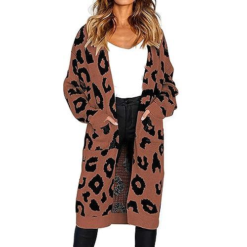 5a8be6fba8 Echoine Women s Cardigan Sweater Long Sleeve Leopard Print Knit Open Front  Coats with Pocket