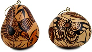 Set Hummingbirds Butterflies Two Pack Gourd Carved Fair Trade Peru Hand Carved Ornament Decoration Christmas
