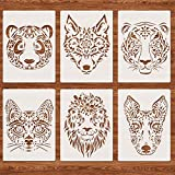 Tiger Wolf Lion Heads Stencils for Painting, 6Pcs A4 Reusable Panda Cat Dog Animal Head Wall Stencil Template for DIY Projects Scrapbook Floors Fabric Furniture Glass Wood 8.26'x11.8'