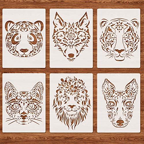 Tiger Wolf Löwenköpfe Schablonen zum Malen, 6 Stück A4 Wiederverwendbare Panda Katze Hund Tierkopf Wandschablone Vorlage für DIY-Projekte Sammelalbum Fußböden Stoff Möbel Glas Holz 21x29,7 cm