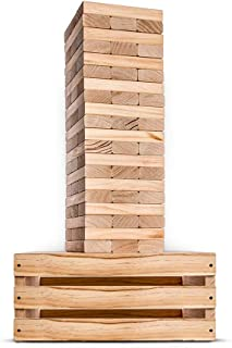 SWOOC Games - Giant Tower Game | 60 Large Blocks | Storage Crate / Outdoor Game Table | Starts Over 2.5ft Big | Max Height...