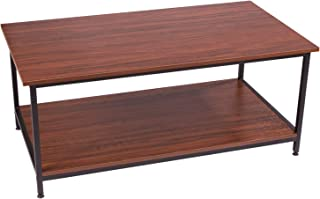 IRONCK Coffee Table for Living Room, Tea Table with Storage Shelf, Wood Look Accent Furniture with Metal Frame, Rustic Home Decor