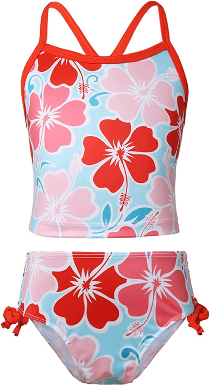 JanJean Big Girls Kansas City Mall Two Sales for sale Piece Flower Swimwear Spaghetti Print Swim