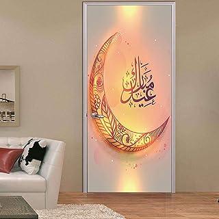 Khxcc Eid Mubarak Home Decor Door Sticker Ramadan Decoration Living Room Bedroom Door Creative Waterproof 3D Muslim Wall S...