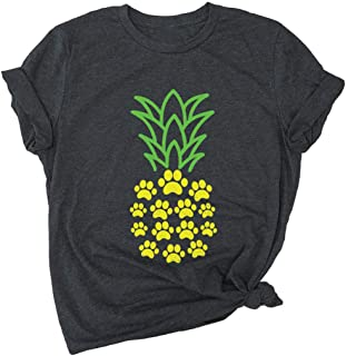 Monaisha Pineapple Shirts for Women Funny Summer Fruits Lover Casual Short Sleeve Tops Blouse