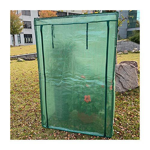Gzhenh Small Greenhouse Insulation Greenhouse Winter Plastic Plant Freeze Cover with Zipper Roller Blind Design Easy to Use Waterproof PE Grid Cloth (Color : Green-3pcs, Size : 100x48x150cm)