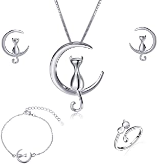 ISAACSONG.DESIGN Sterling Silver Cat Kitty Jewelry Set - Cat Lovers Necklace, Earrings, Bracelet, Ring Set for Women
