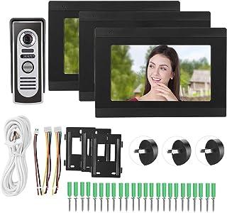 Night Looking 3 Monitors Video Doorphone, Doorphone, Full Color for Home Security System Portrait Capture Villas(Australia...
