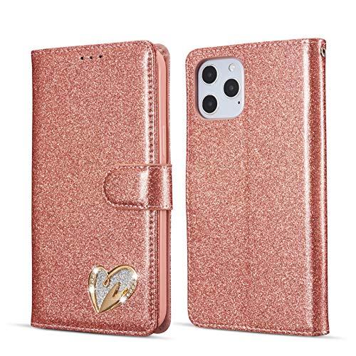 QLTYPRI iPhone 12 Mini Hülle, Glitzer Handyhülle PU Ledertasche TPU Etui Handschlaufe Kartenfach mit Eingelegten Liebe Herz Diamond Flip Schutzhülle für iPhone 12 Mini (5,4 Zoll) - Roségold