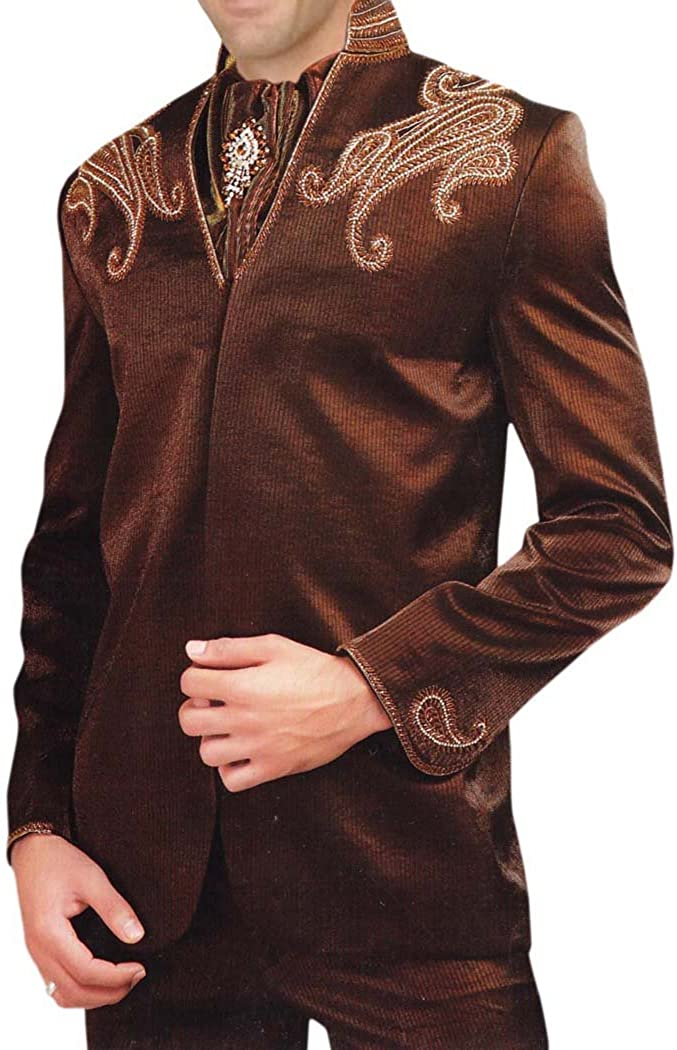 INMONARCH Mens Brown 4 pc Tuxedo Suit Embroidered Wedding TX0161