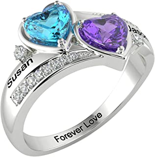 LanM Personalized Mother Rings with 2 Simulated Birthstones Rings for Women Promise Rings for Girl Jewelry