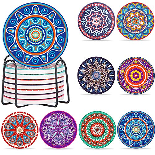 AMAYGA 8 Pack Untersetzer mit Halter,Gläser Absorbierenden Keramik,Dekorative Untersetzer fur Glas,Tassen,Vasen,Kerzen auf ihrem Holz