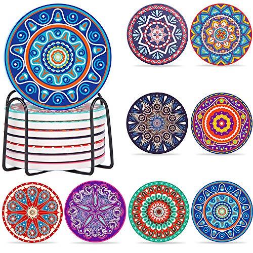 AMAYGA Posavasos,Set de 8 Premium Design Posavasos,Posavasos de ceramica con piedra absorbente de corcho,decorativos para vidrio,copas,floreros