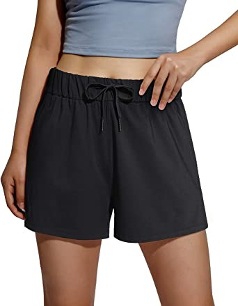 Promover Women's Drawstring Athletic Workout Shorts Elastic Waist Running Lounge Activewear with Pocket