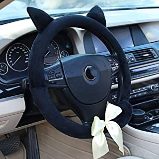 Sxmy Bil tecknad baksida katt rattöverdrag söt kreativ katt mode personlighet halkfri vinter varm styre skydd, svart