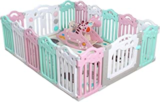 Baby Safety Play Yard Built-in Cradle Chair Blue pink for Baby and Toddlers with Activity Panel  amp  Door Colourful Plastic Panels