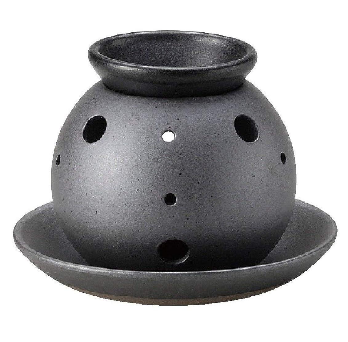 刈る一般的に言えばランチ常滑焼 7-227 盛正黒泥丸形茶香炉 盛正φ14.5×H11㎝