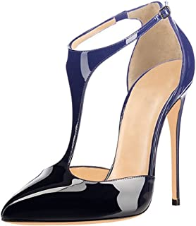 UMEXI Pointed Toe T Strap High Heels Ankle Strap Sandals Stilettos Evening  Shoes for Women 6189a7e4a7e1