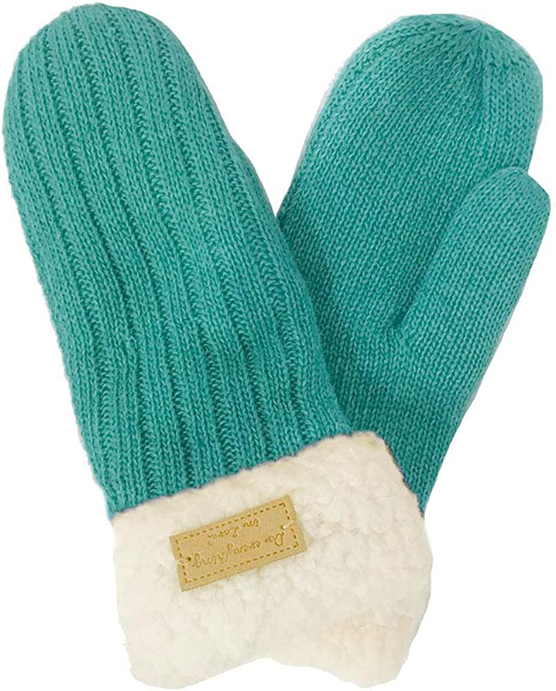 ScarvesMe Women's Winter Warm Cable Ribbed Knit Fleece Sherpa Lined Solid Color Soft Mitten Gloves