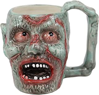 Ebros Walking Dead Impaled Zombie Head Ceramic Coffee Mug With Peeling Flesh And Bloodshot Eyes Beer Stein Beverage Tankard Drinking Cup 12oz Zombie Apocalypse Collection