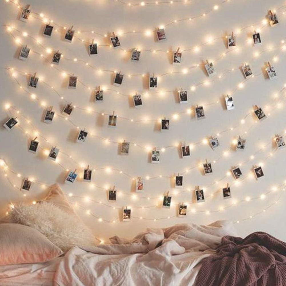 Fuchaan 2 m//5 m//10 m LED Foto Peg Clips Luces de hadas funciona con pilas decoraci/ón de fiesta para colgar fotos tarjetas decoraciones 100 LED*