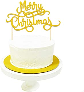 JANOU Merry Christmas Gold Glitter Cake Topper Cupcake Picks Merry Xmas Happy New Year Party Decoration Pack 10pcs