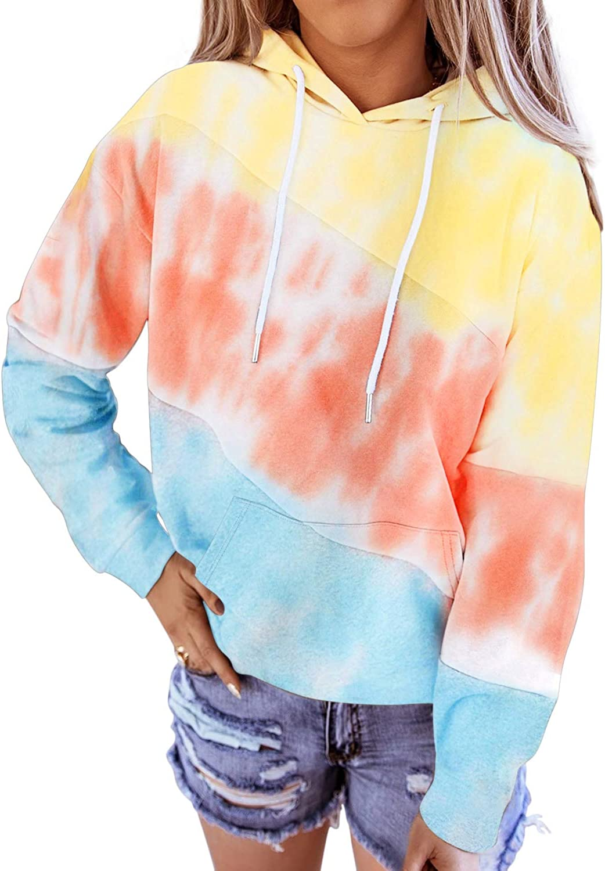 Diukia Women's Plus Size Loose Color Block Hoodies Sweatshirt Casual Long Sleeve Kangaroo Pocket Hoodies Pullover Sky Blue 2XL
