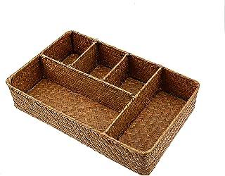 RKRCXH Panier de Rangement en rotin boîte de Rangement en jonc de mer Organisateur de Cuisine Fait Main pour Fournitures d...