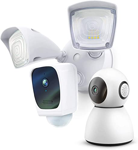 2021 Home Zone Security Floodlight online sale Camera and high quality Indoor PTZ Camera - Smart 2.4 GHz Wireless 1080P Camera Bundle outlet online sale